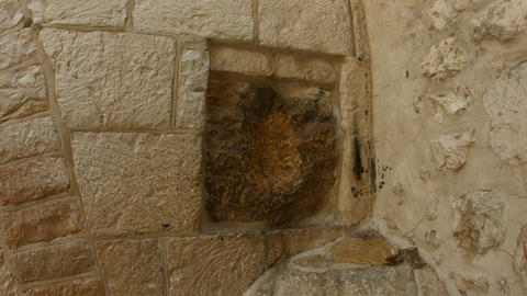 4K UHD Archaeological artifact in Via Dolorosa in  Footage