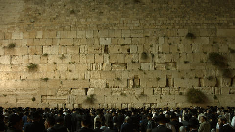 4K UHD Jews Pray at the Western Wall the night bef Live Action