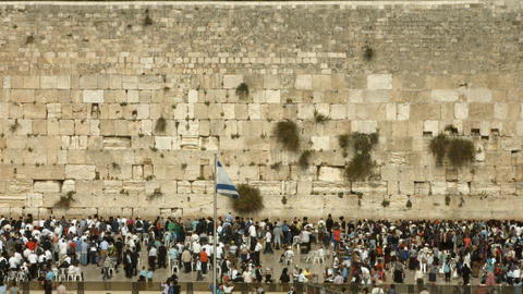 4K UHD Jews Pray at the Western Wall during the Pa Footage