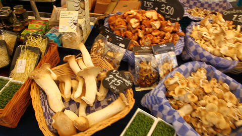 Mushroom Farmer Market Booth stock footage