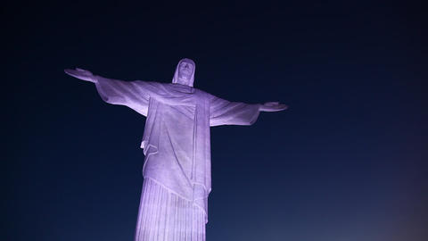 Christ the Redeemer Monument night in Rio De Janei Footage