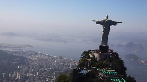 Corcovado Redeemer aerial Rio de Janeiro Brazil fl Footage