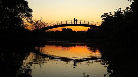 Romantic sunset on bridge FULL HD Stock Video Footage