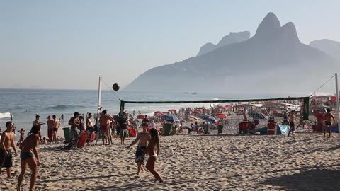 Kick ball game in Copacabana Beach Rio de Janeiro Footage