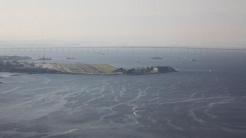 Airplane Taking Off Rio De Janeiro Brazil Santos D stock footage
