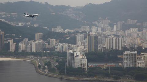Airplane Landing Rio De Janeiro Brazil Santos Durm stock footage