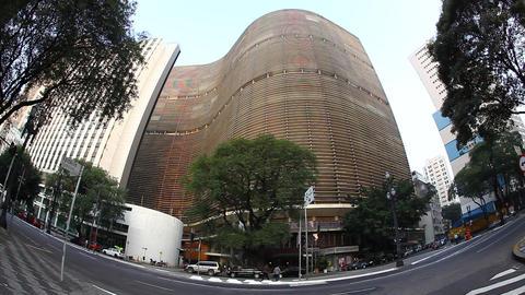 Sao Paulo Brazil skyline Copan Building fisheye FU Footage