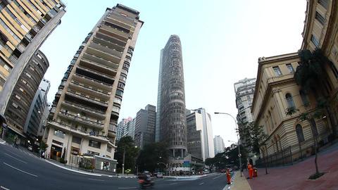 Sao Paulo Brazil Skyline Italian Building Fisheye  stock footage