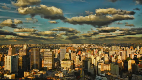 Sao Paulo Brazil skyline sunset time lapse Footage