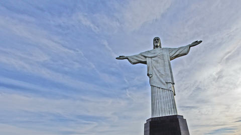 4K UHD Glowing Christ The Redeemer Monument Rio De stock footage