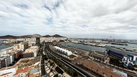 4K UHD Las Palmas de Gran Canaria city skyline aer Footage