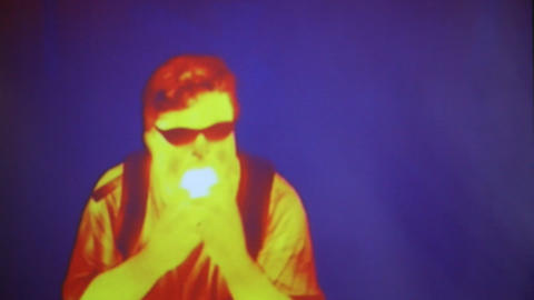 Infrared radiation thermal imaging camera of a man Live Action