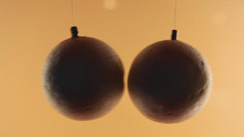 Science Project: Balls Attracted When Air Passes B stock footage