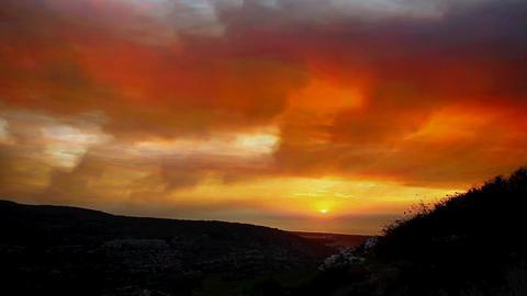 Red orange apocalyptic sunset / sunrise time lapse Footage