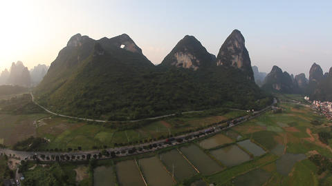 Hot Air Ballooning - Yangshuo, China stock footage