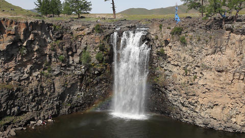 Waterfall In The Gobi Desert In Mongolia stock footage