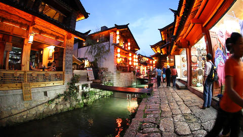 Night life in old town Lijiang in Yunnan province, Footage