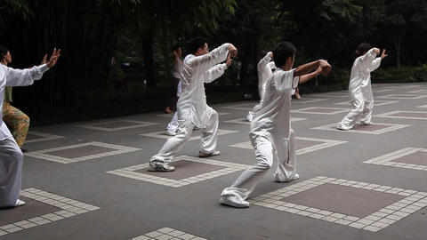 Tai Chi In The Park stock footage