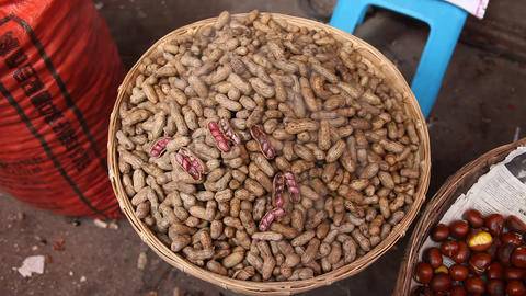 Steamed peanuts on a steaming tray Live Action