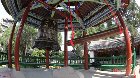 Bell near Wan Gou Lou Pagoda on Lion Hill Footage