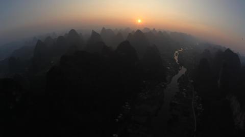 Hot air ballooning - Yangshuo, China Footage