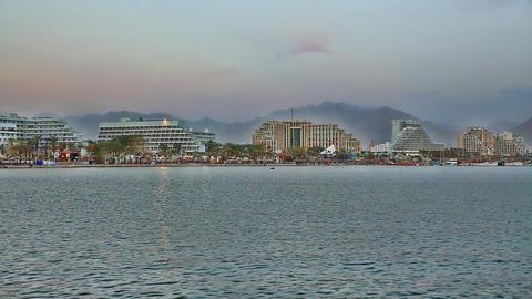 Skyline of Eilat: coastline, beach, hotels, mounta Footage