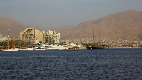Skyline of Eilat: coastline, beach, hotels, promen Footage