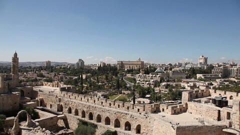 David tower, Jerusalem old city, wide pan Footage