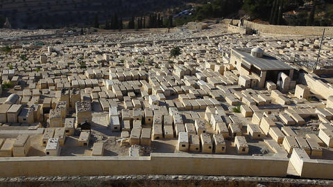 Mount of Olives Cemetery zoom out Footage
