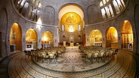 Basilica Church Of The Dormition, Jerusalem, Tilt stock footage