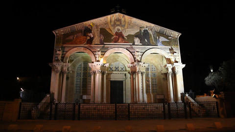 Church of All Nations, Jerusalem, night Footage