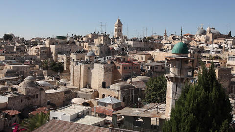 Skyline of old Jerusalem Footage