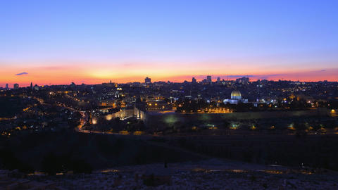4K UHD Skyline of Jerusalem sunset time lapse Footage