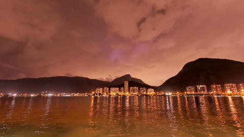 4K UHD The Lagoon Rio de Janeiro cloudy sky night  Footage