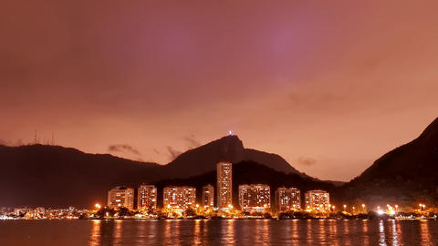 The Lagoon Rio de Janeiro cloudy sky night time la Footage