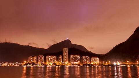 Pan The Lagoon Rio de Janeiro cloudy sky night tim Footage