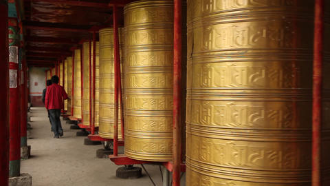 Prayer Wheels in Tagong, China Footage