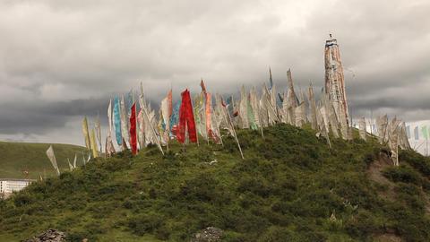 Tibetan flags near Tagong, China ライブ動画