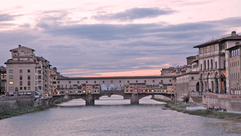 Ponte Vecchio Of Florence At Sunset Time Lapse stock footage