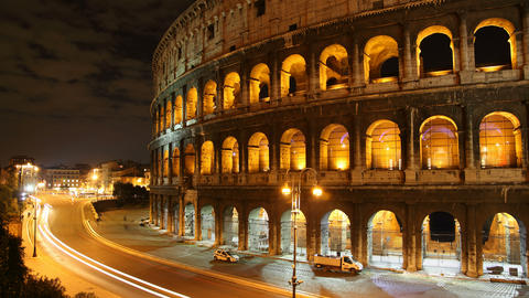 4K UHD Rome: the Colosseum time lapse night Footage