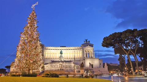 Rome: Vittorio Emanuele Christmas Time Lapse stock footage