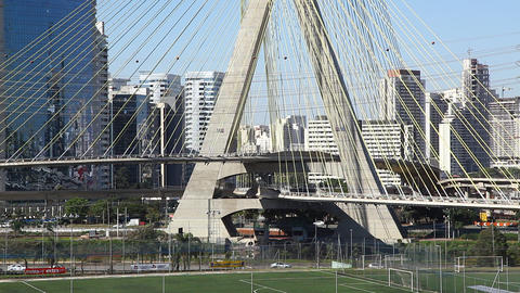 Ponte Estaiada bridge built over the Pinheiros Riv Footage