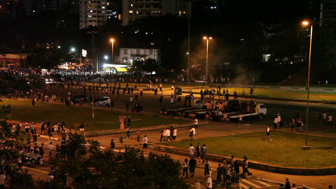 Police Clashes With Fans After Football Match stock footage