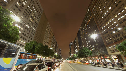 4K UHD Commuters ride buses home at Avenida Presid Footage