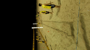 Athletes Practice Volleyball At Night Ipanema Beac stock footage