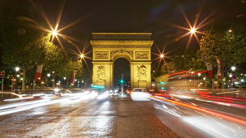4K UHD Arch of Triumph at night, Paris, France, Tr Footage