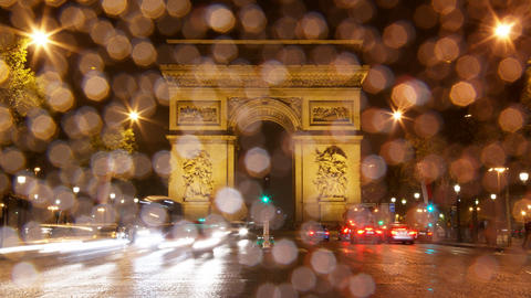 Arch of Triumph rain at night, Paris, France, Traf Footage