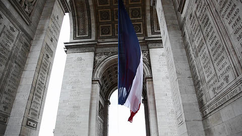 French Flag under Arch de Triumph during Victory D Footage