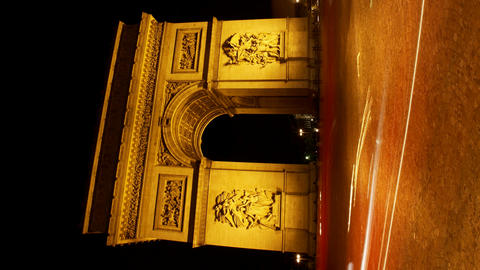 Vertical Arch Of Triumph At Night, Paris, France,  stock footage