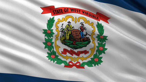 US state flag of West Virginia seamless loop Animation